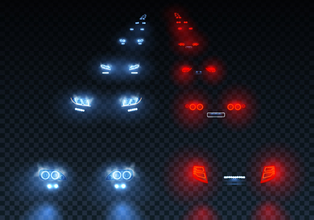Cars flares traffic road lights set with low beam passing lights with reflections on transparent background illustration