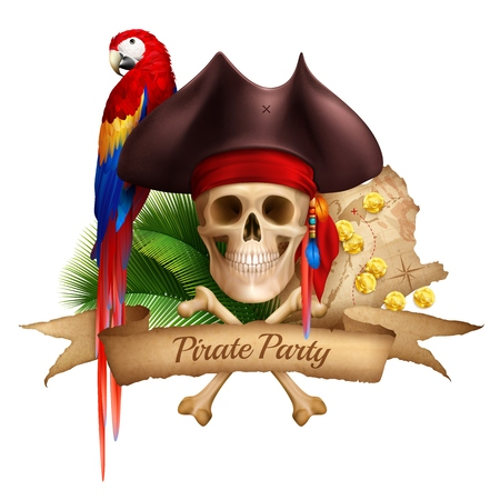 Pirate party realistic composition with old map colorful parrot and hat worn on skull realistic illustration Vectores