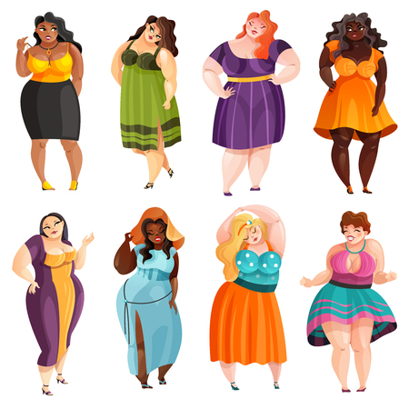 Set of plump pretty women in different elegant dresses isolated illustration