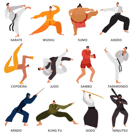 Set of flat icons fighters of various martial arts in uniform with weapon isolated illustration Illustration