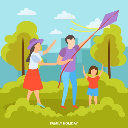 Family with kids summer outdoor activities orthogonal composition with kite flying in city park background  illustration