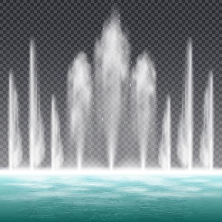 Fontaine à jet sautant dansante avec effet de forme d'eau dynamique image réaliste sur fond transparent illustration