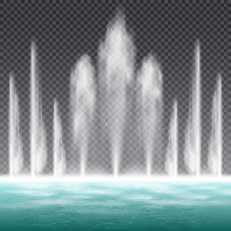 Dancing jumping jet fountain with dynamic water shape effect realistic image against transparent background  illustration