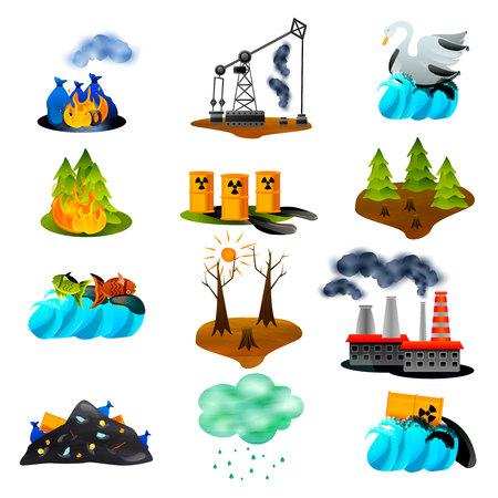 Problemas ecológicos conjunto de iconos planos con contaminación del aire y del océano, deforestación de desechos tóxicos, ilustración vectorial aislada