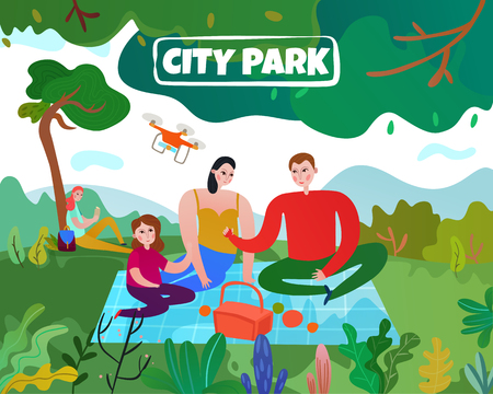 City park with trees lawn parents and children flat vector illustration