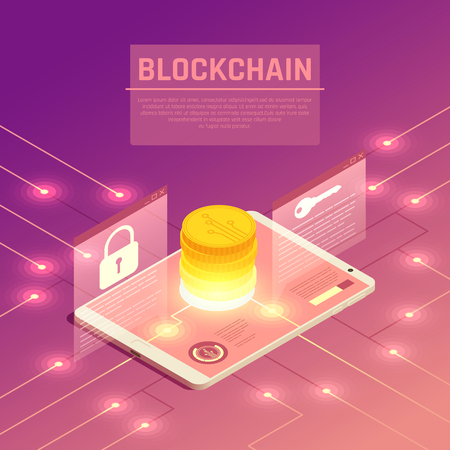 Blockchain cryptocurrency isometric composition with wired electrodes and tablet with stack of coins and lock signs vector illustration Illustration