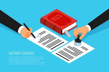 Ejecución del servicio notarial del sello y firma de documentos en papeles sobre fondo azul ilustración vectorial isométrica