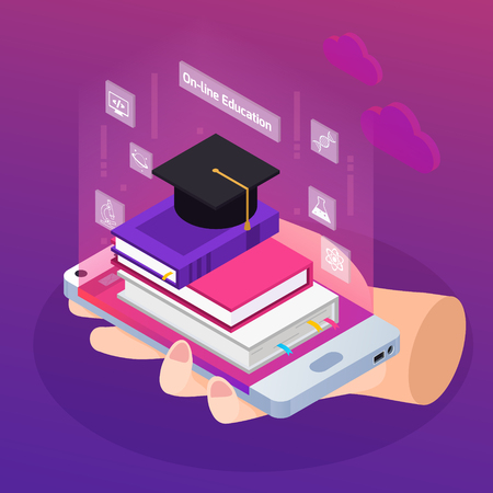 Distance education e-learning degrees advertising glow isometric composition with textbooks on smartphone in hand vector illustration Illustration