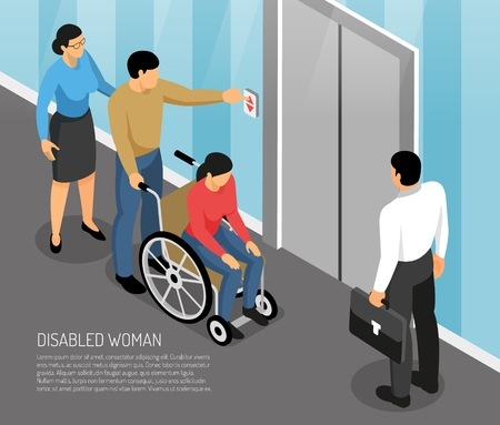 Young disabled woman in wheel chair with accompanying persons waiting lift isometric vector illustration