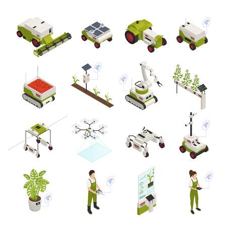 La raccolta delle icone di agricoltura intelligente di automazione dell'agricoltura con sedici immagini isolate con le piante della gente e gli strumenti dell'attrezzatura vector l'illustrazione