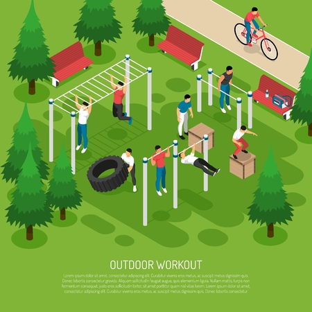 Workout at sports equipment with jumps wheel lifting pull ups in summer park isometric vector illustration Stock Illustratie