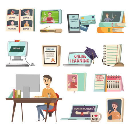Online education orthogonal set with learning courses app in phone and notebook tutorials diploma and schedule in memo book flat icons vector illustration