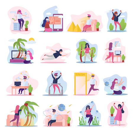 Virtual augmented reality 16 orthogonal compositions icons collection with people in vr glasses experiences isolated vector illustration Imagens - 109486706