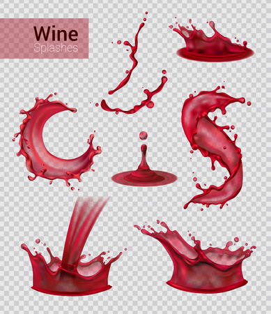 Wine splash realistic set of isolated sprays of liquid red wine with drops on transparent background vector illustration