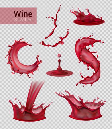 Wijn splash realistische set van geïsoleerde sprays van vloeibare rode wijn met druppels op transparante achtergrond vectorillustratie