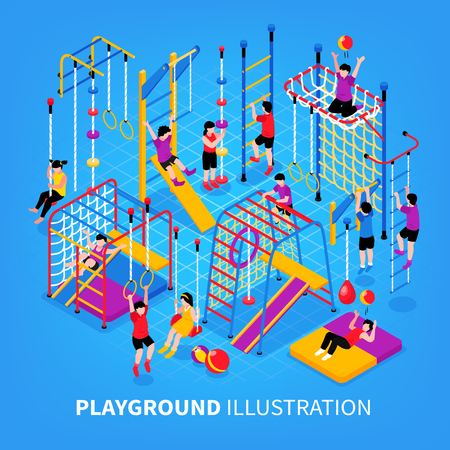 Children sport complex background composition with text and stationery gymnastic apparatus with kids performing sports exercises vector illustration