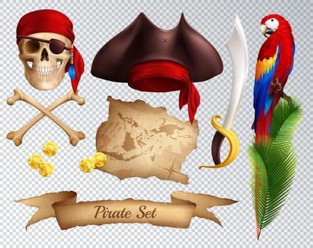 Conjunto de iconos realistas piratas de sombrero de pirata sable pañuelo rojo atado al loro de calavera en la rama de palma aislada en la ilustración de vector de fondo transparente