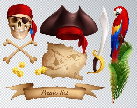 Pirate realistic icons set of saber pirate hat red bandanna tied to skull parrot on palm branch isolated on transparent background vector illustration Foto de archivo - 109486709