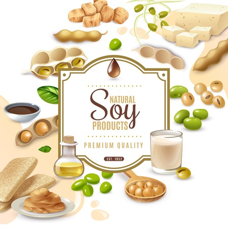Decorative frame with soy food products on white beige background vector illustration