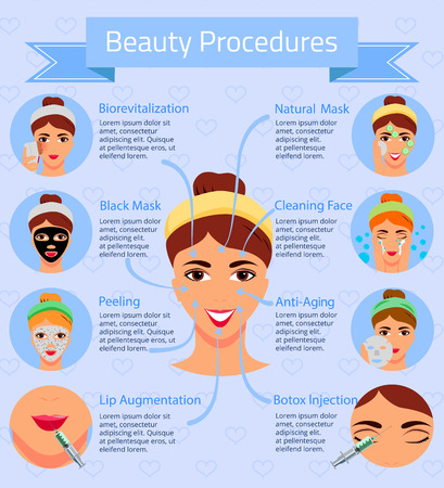 Woman face and information about beauty salon procedures flat infographics on blue background vector illustration