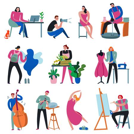 Creative workers set with painter florist photographer sculptor designer musician dancer isolated on white background flat vector illustration