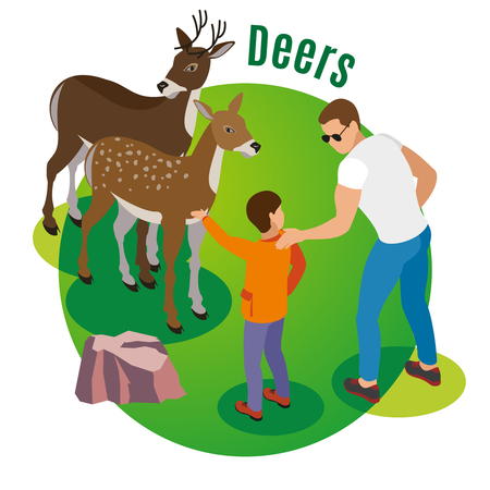 Contact zoo isometric background with human characters of adult man and his child in the wild vector illustration Archivio Fotografico - 128160188