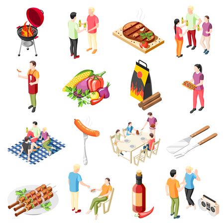 Grill bbq party isometric icons collection with isolated icons of barbecue food outdoor grill and people vector illustration Illustration