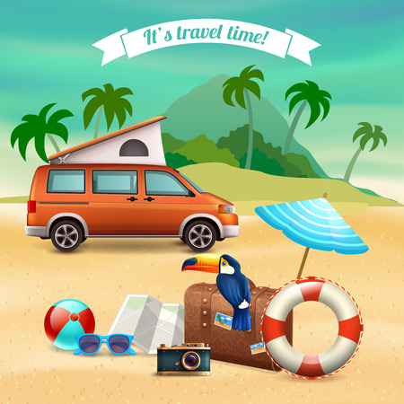 Summer realistic holidays poster with touristic orange bus and it s a travel time headline vector illustration