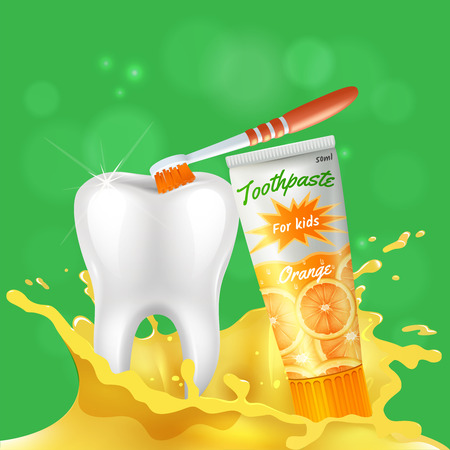 Kids dental care realistic composition with white shining healthy tooth brushed with orange flavored toothpaste vector illustration Illustration