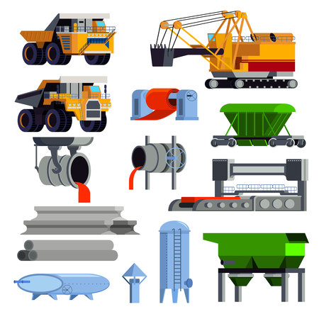 Isolated and flat steel production metallurgy icon set with operating machines and containers for transportation vector illustration Vettoriali