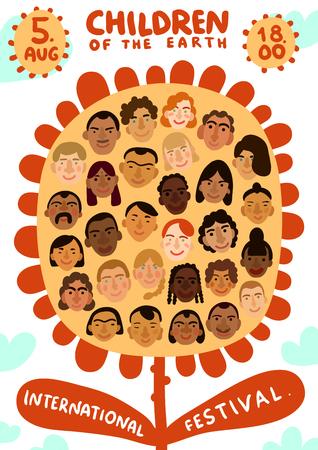 Cartel del festival de los niños de la tierra sobre fondo claro con rostros humanos internacionales en la ilustración de vector plano de flores