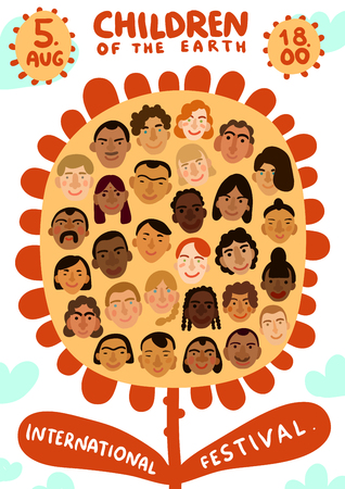 Kinder des Erdfestplakats auf hellem Hintergrund mit internationalen menschlichen Gesichtern an der flachen Vektorillustration der Blume