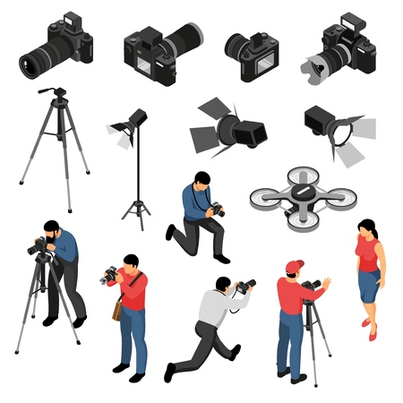 Professional photographer equipment isometric icons collection with studio portrait photo shoots camera light drone isolated vector illustration