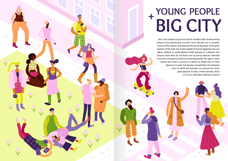 Young people big city style casual look street fashion ideas inspiration tips pictures infographic poster vector illustration Illustration
