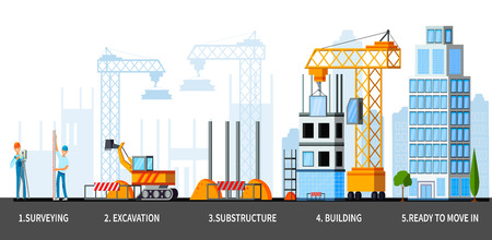 Building stages of sky scraper from surveying till ready house flat composition vector illustration