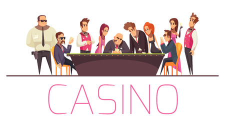Casino background composition with text and flat cartoon style characters of playing people security and banker vector illustration