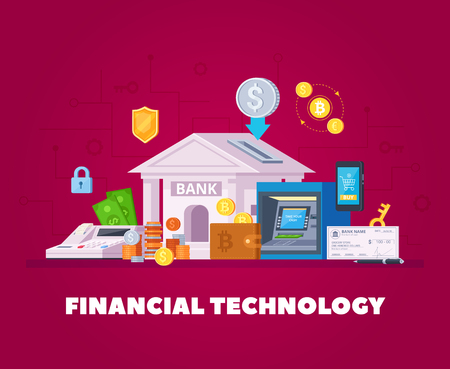 Financial institution electronic technologies flat orthogonal composition background poster with bank transactions smartphone online shopping vector illustration