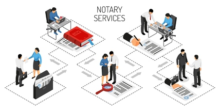 Notary services certification of agreements authentication of signatures confirmation of copies of documents isometric horizontal vector illustration
