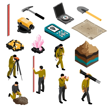 Geologist tools supplies gear accessories isometric icons set with minerals hardness kit map compass hammer vector illustration