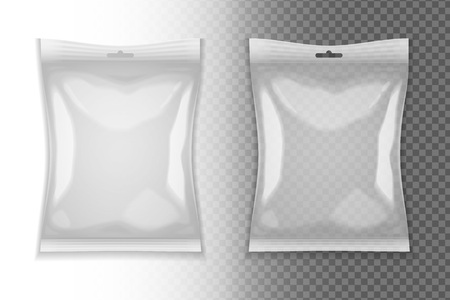 Realistic blank pack templates on transparent background isolated vector illustration