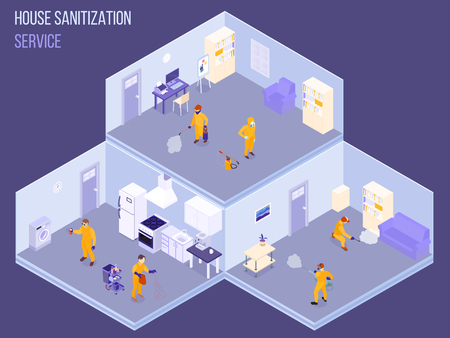 Staff of house sanitization service in protective uniform during disinfection work isometric vector illustration Stock Illustratie