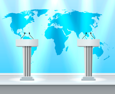 Realistic debate composition with two white tribunes for presentations to large audiences vector illustration