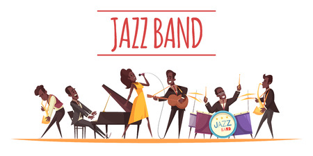 Jazz background composition with cartoon style flat characters of african american musicians with instruments and text vector illustration Illustration
