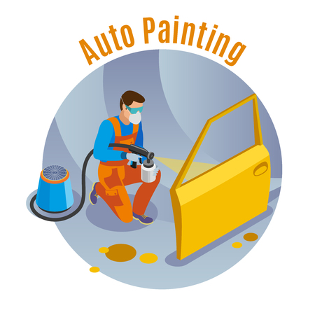 Auto service background with auto painting service symbols isometric vector illustration