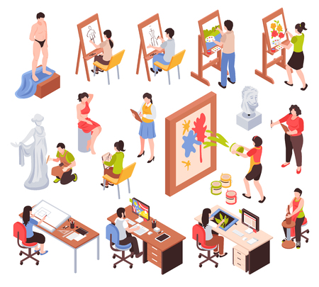 Creative profession isometric icons set with artists masters of sculpture and pottery graphic designers isolated vector illustration  イラスト・ベクター素材