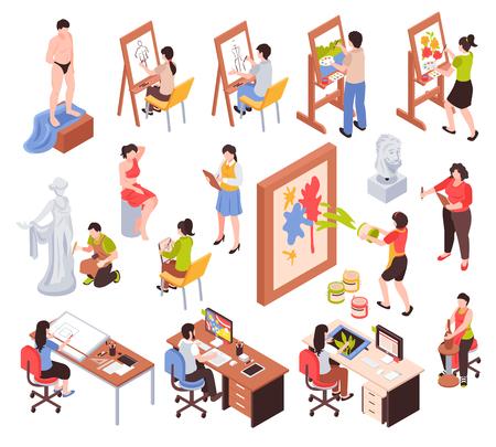 Los iconos isométricos de la profesión creativa con artistas maestros de la escultura y los diseñadores gráficos de cerámica aislaron la ilustración del vector Ilustración de vector