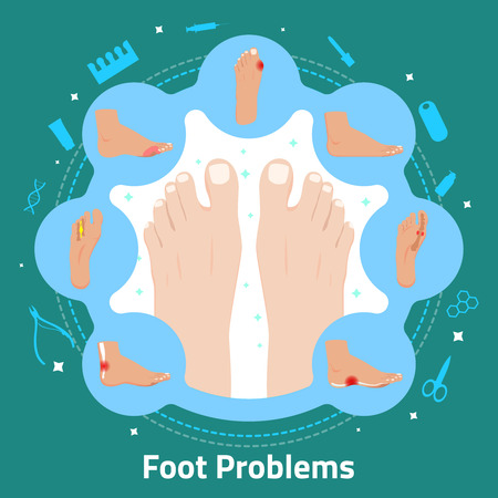 Foot problems and pedicure tools flat round composition on turquoise background vector illustration