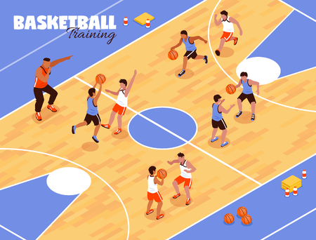 Isometric school sport kids team basketball background composition with view of basketball court and playing children vector illustration