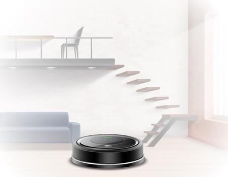 Black robotic vacuum cleaner on background of interior illuminated by sun 3d vector illustration Illustration