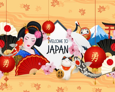 Welcome to japan realistic frame national symbols composition with red lantern geisha maneki neko cat vector illustration